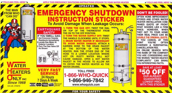 Water Heaters Only Emergency Shutdown Sticker Fremont About Water Heaters Only Inc.